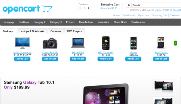 featured categories in TAB or SLIDER