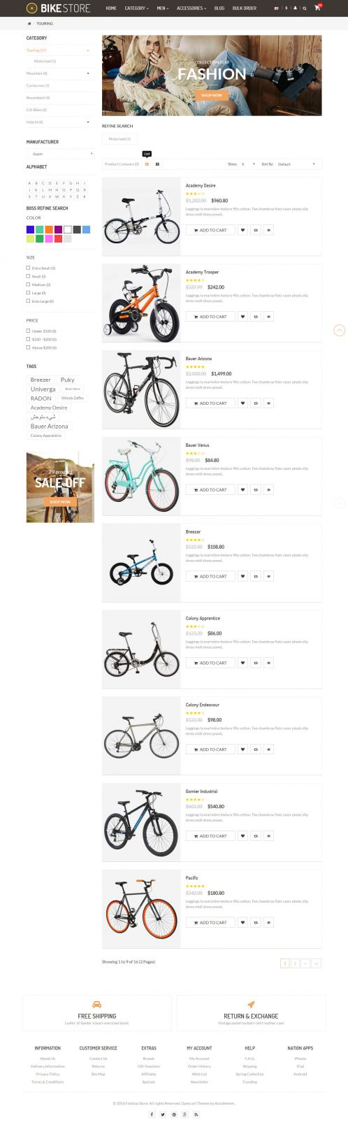 Bossthemes Amazing BikeStore - Category Grid