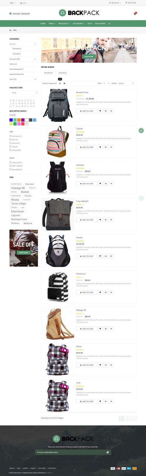 Bossthemes BackPack - Category List