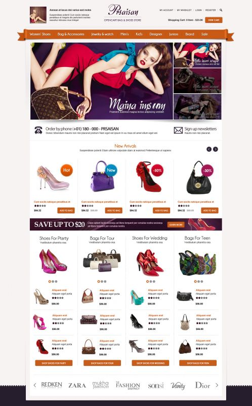 OpenCart Bags and Shoes Theme | BossThemes
