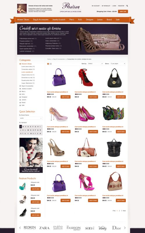 BossThemes Bags and Shoes - OpenCart Bags and Shoes Theme - Category Grid