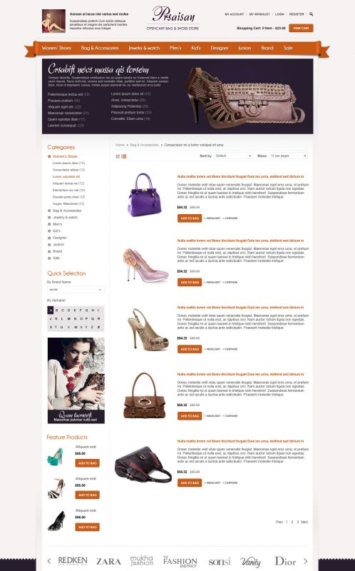 BossThemes Bags and Shoes - OpenCart Bags and Shoes Theme - Category List