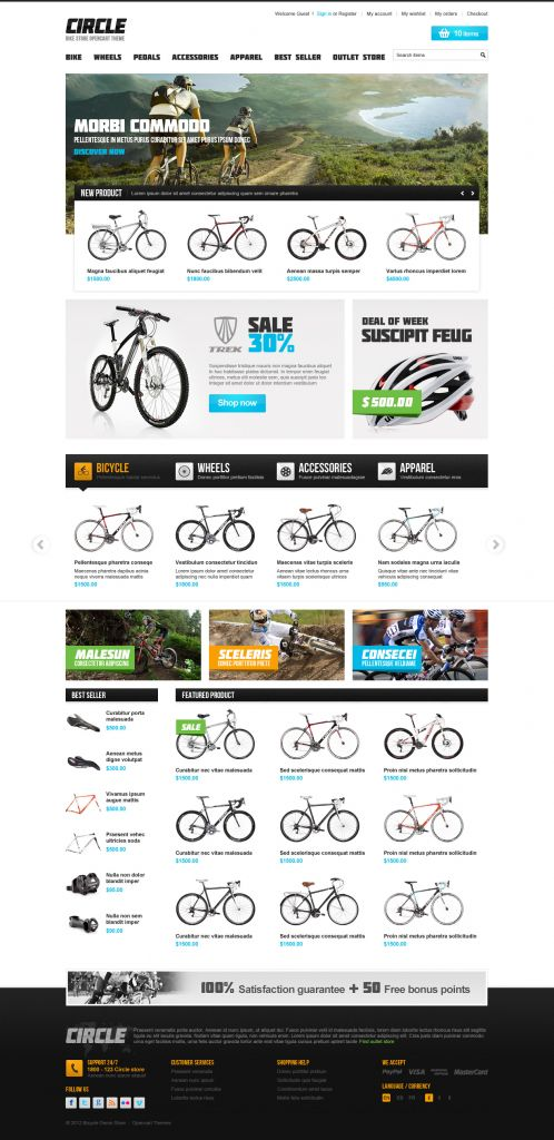 BossThemes BikeStore - OpenCart Bike Store Theme - Home Black