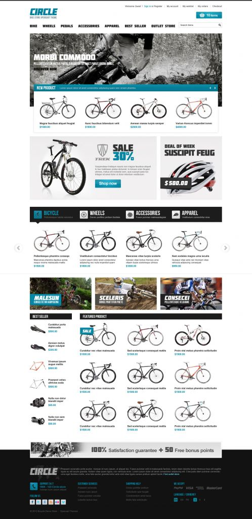 BossThemes BikeStore - OpenCart Bike Store Theme - Home Blue