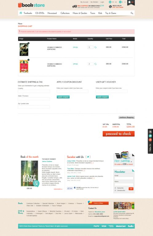 Book Store Responsive OpenCart Theme - Shopping Cart