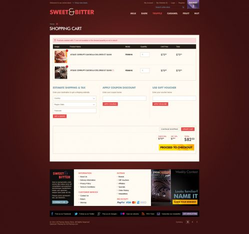 BossThemes Chocolate OpenCart Theme - Shopping Cart