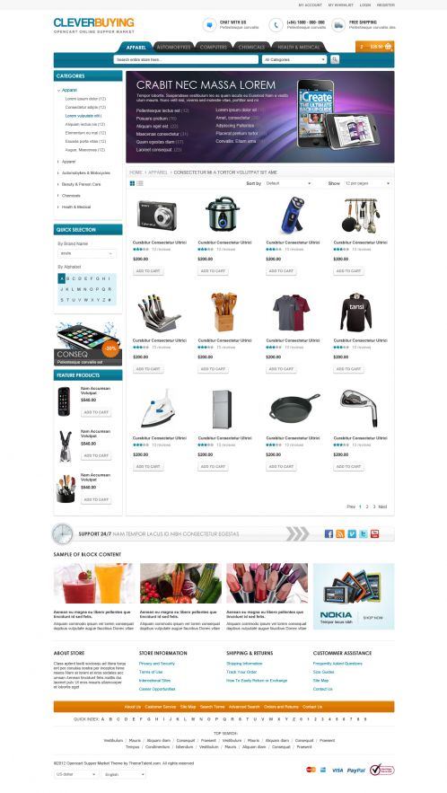 Shopping Mall OpenCart Theme - ClerverBuying - Category Grid