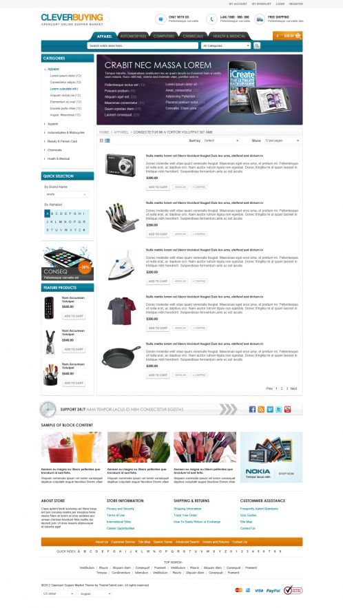 Shopping Mall OpenCart Theme - ClerverBuying - Category List