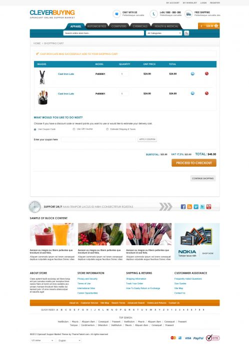 Shopping Mall OpenCart Theme - ClerverBuying - Shopping Cart