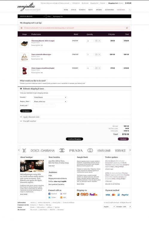 BossThemes Fashion OpenCart Theme - Shopping Cart