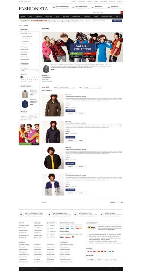 Boss Fashionista - OpenCart Theme - Category List