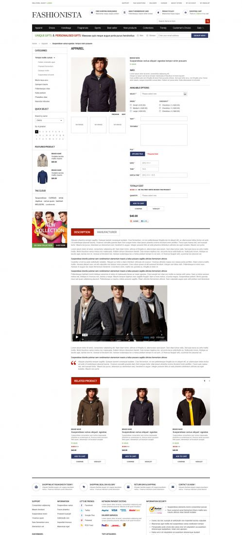 Boss Fashionista - OpenCart Theme - Product Details