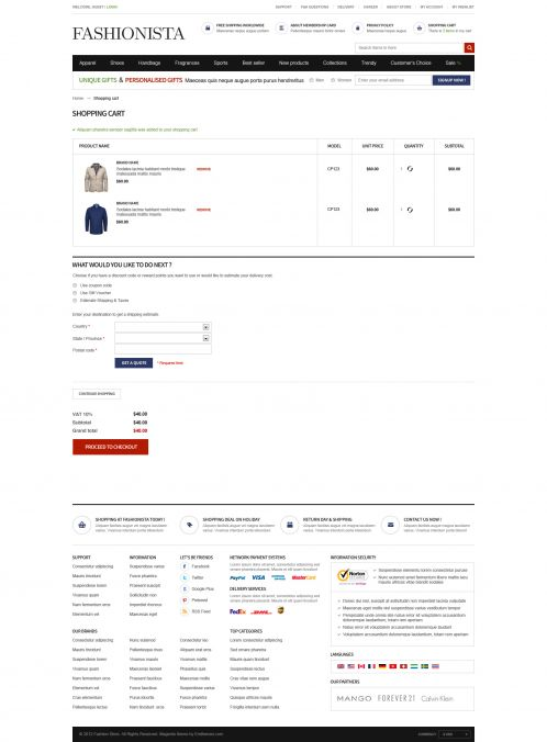 Boss Fashionista - OpenCart Theme - Shopping Cart