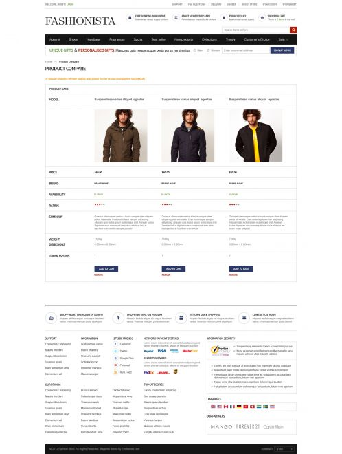 Boss Fashionista - OpenCart Theme - Compare