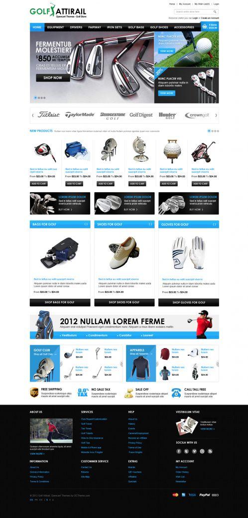 Golf Sport OpenCart Template - Home Blue