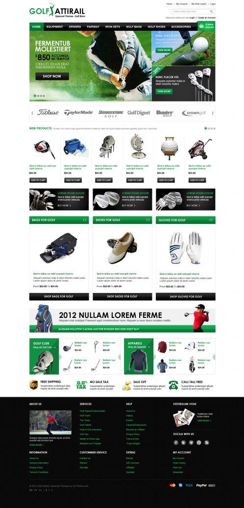 Golf Sport OpenCart Template - Home Green