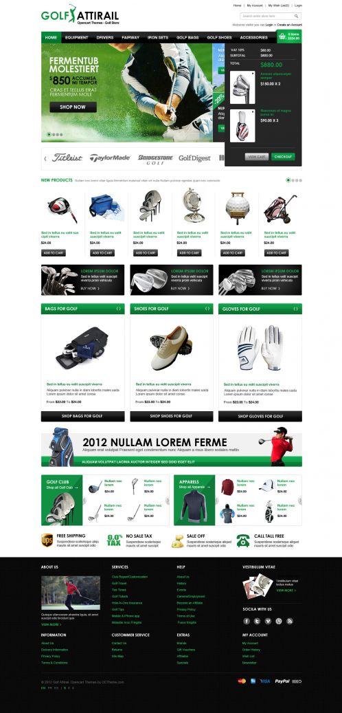 Golf Sport OpenCart Template - Shopping Cart