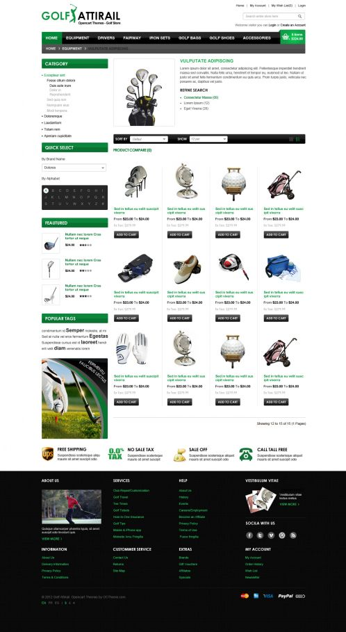 Golf Sport OpenCart Template - Category Grid