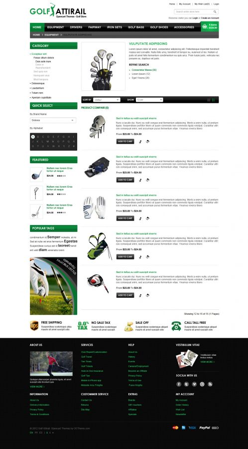 Golf Sport OpenCart Template - Category List