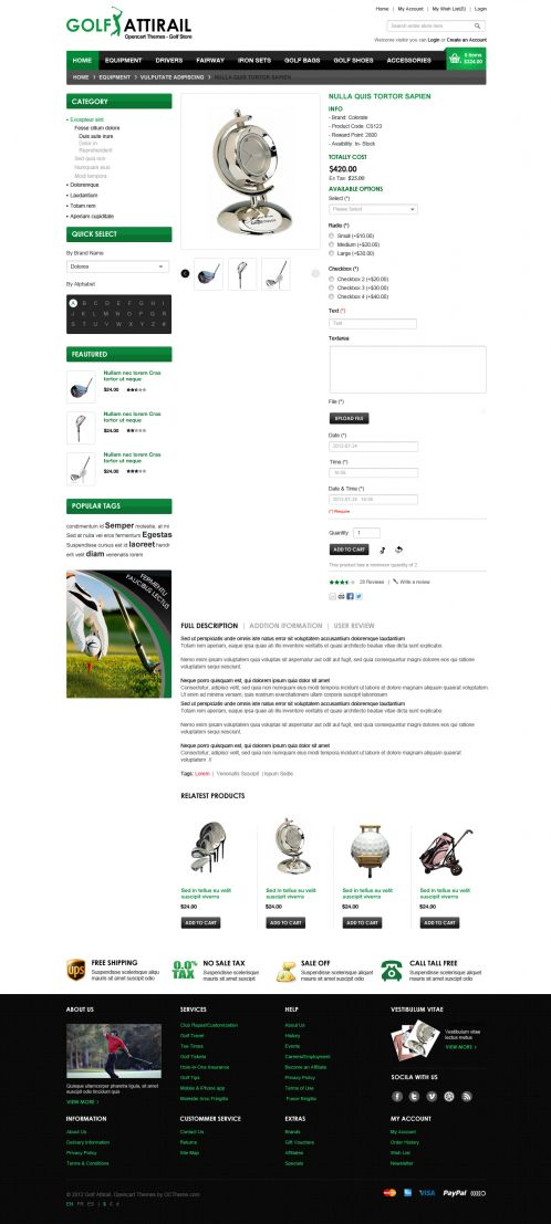 Golf Sport OpenCart Template - Product Details