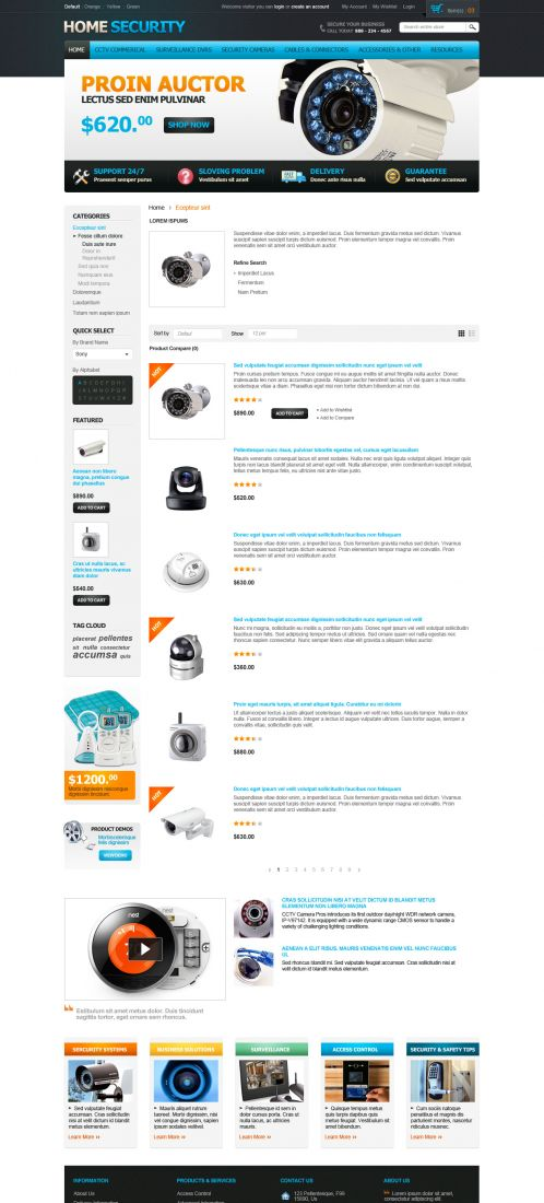 Home Security Responsive OpenCart Theme - Category List