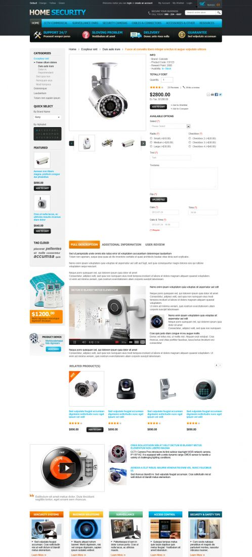 Home Security Responsive OpenCart Theme - Product Details