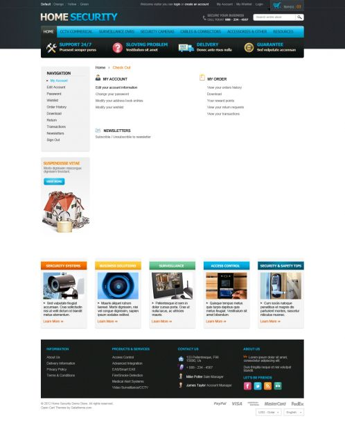 Home Security Responsive OpenCart Theme - Checkout