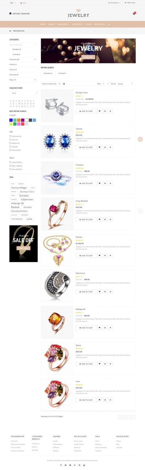 Bossthemes Jewelry - Category List