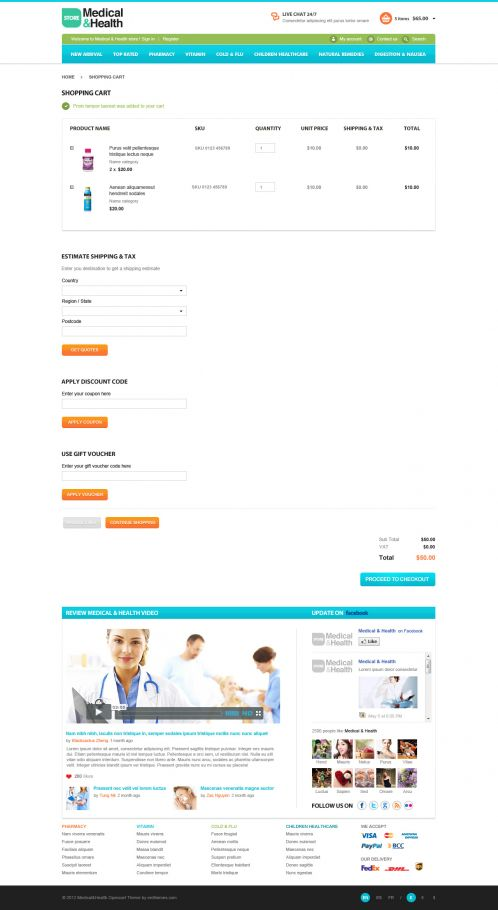 Medical Health Responsive OpenCart Theme - Shopping Cart