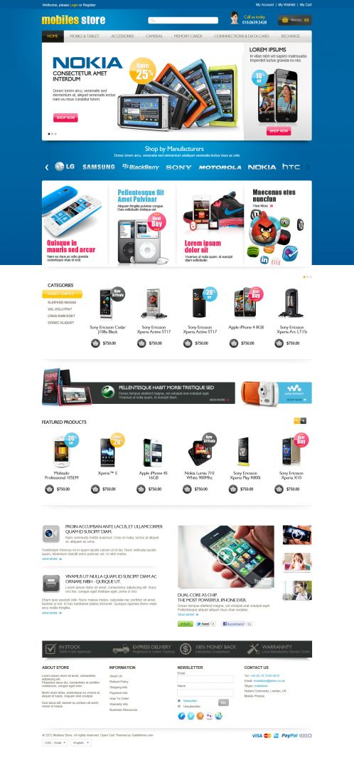 Mobile Store Responsive OpenCart Theme - Home Blue