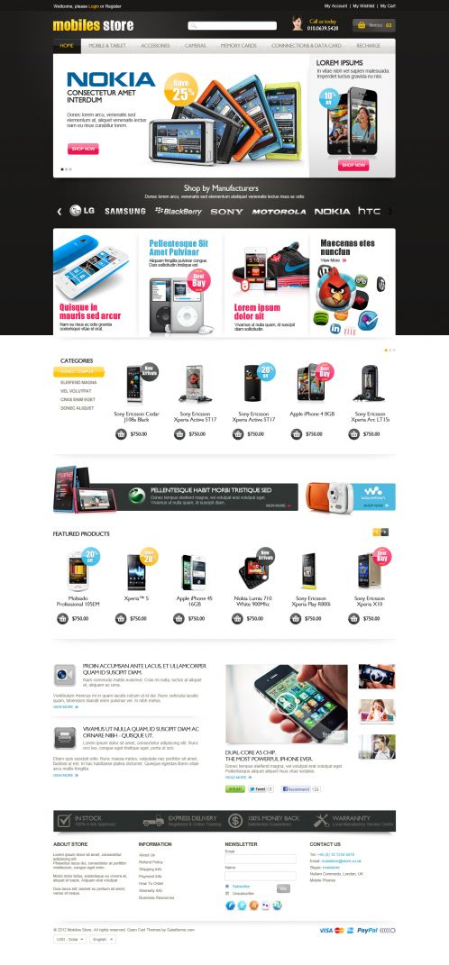 Mobile Store Responsive OpenCart Theme - Home Black