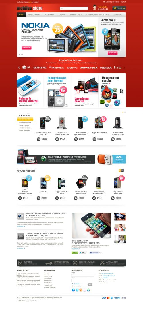 Mobile Store Responsive OpenCart Theme - Home Red