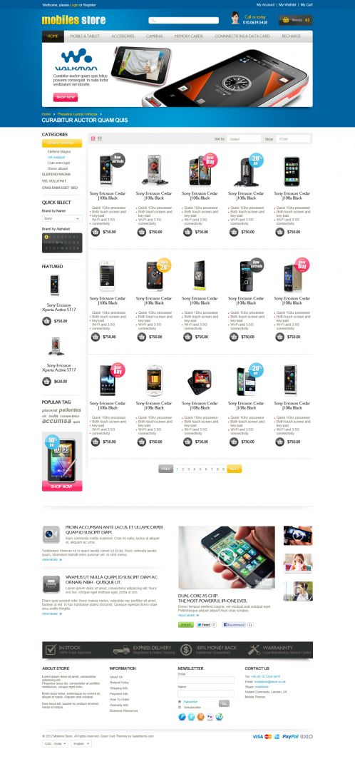 Mobile Store Responsive OpenCart Theme - Category Grid