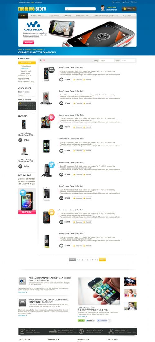Mobile Store Responsive OpenCart Theme - Category List