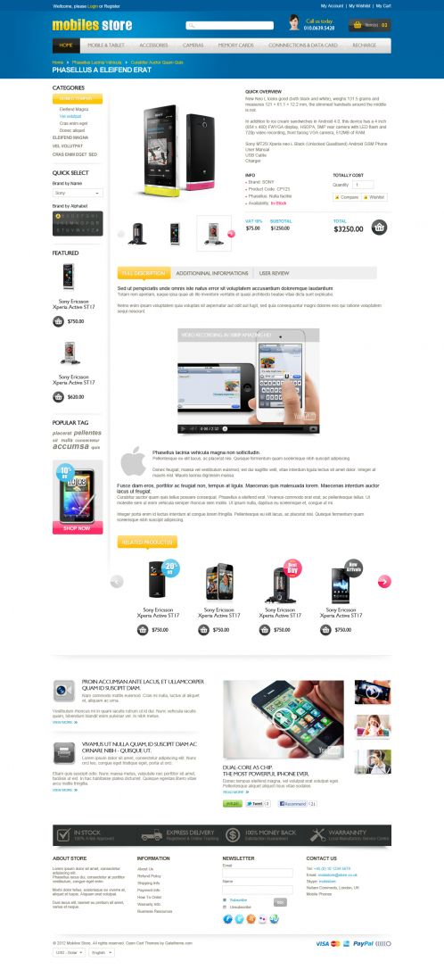 Mobile Store Responsive OpenCart Theme - Product Details