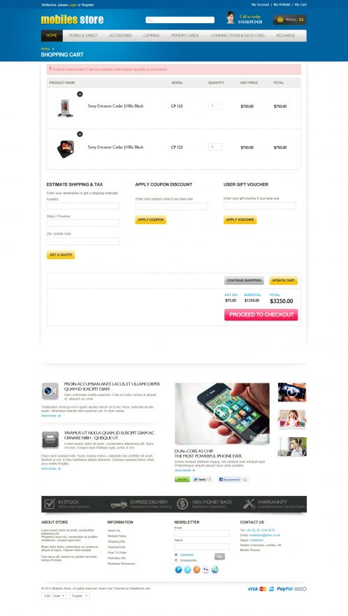 Mobile Store Responsive OpenCart Theme - Shopping Cart