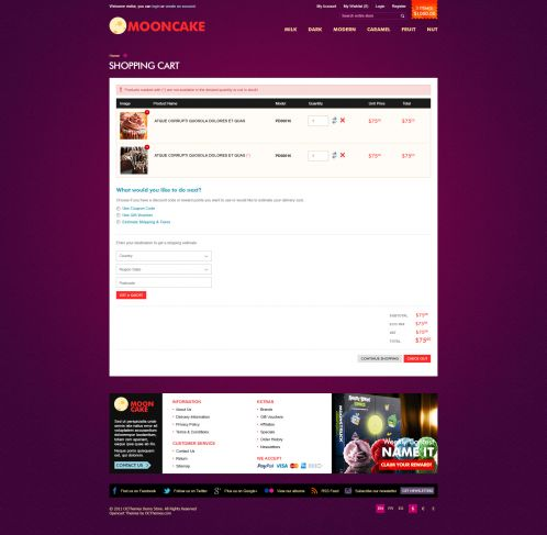 Mooncake OpenCart Theme - Shopping Cart