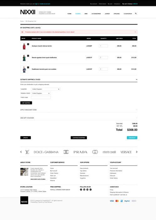 Fashion OpenCart Theme - BossThemes Nixx - Shopping Cart