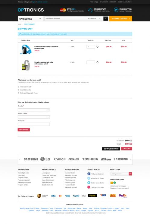 Boss Optronics - OpenCart Theme - Shopping Cart