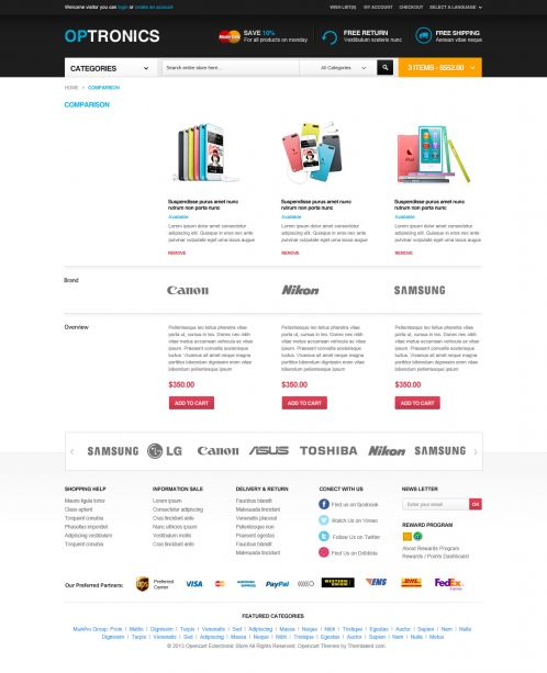 Boss Optronics - OpenCart Theme - Compare