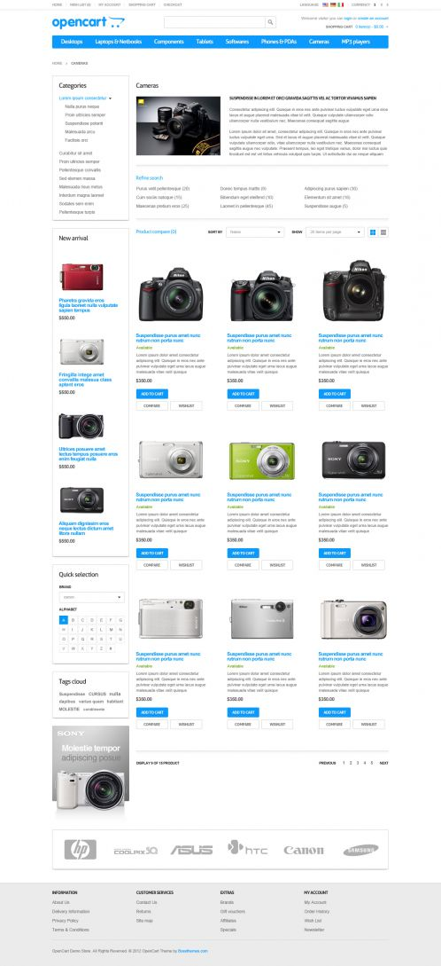 Responsive Default OpenCart Theme - Category Grid