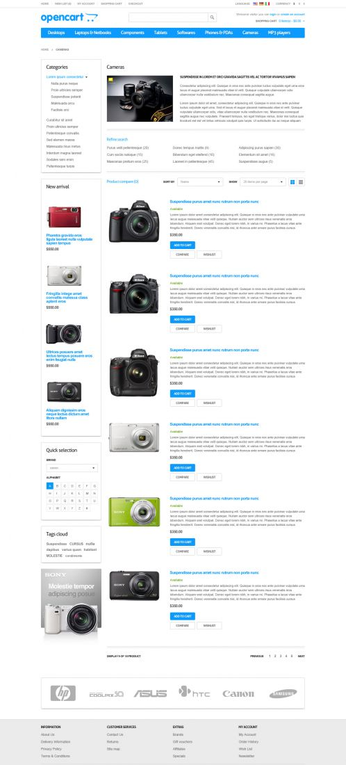 Responsive Default OpenCart Theme - Category List