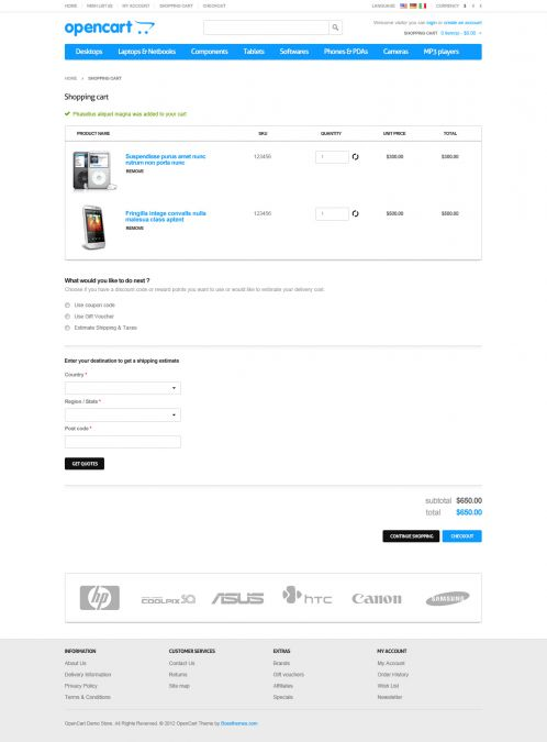 Responsive Default OpenCart Theme - Shopping Cart