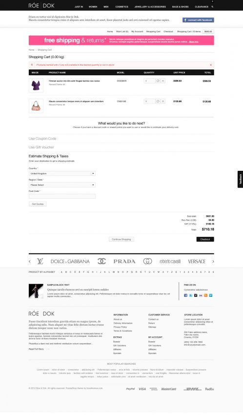 Fashion OpenCart Theme - BossThemes RoeDok - Shopping Cart