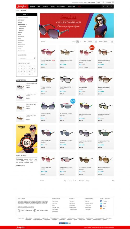 Boss Sunglasses OpenCart Theme - Category Grid
