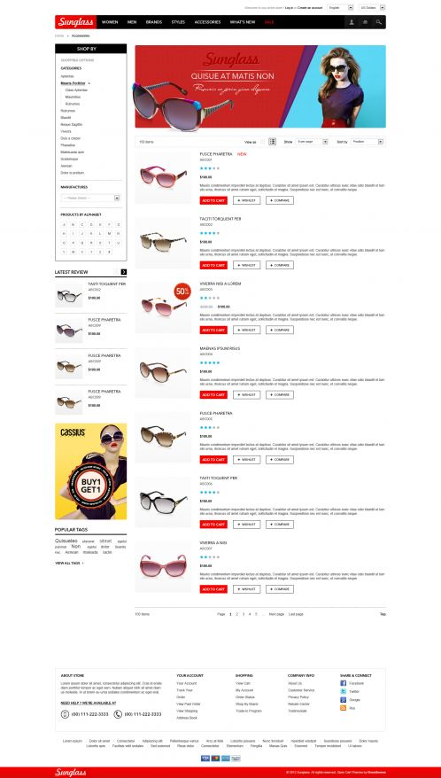 Boss Sunglasses OpenCart Theme - Category List