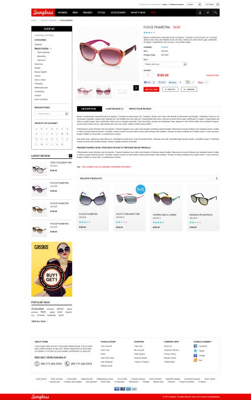 Boss Sunglasses OpenCart Theme - Product Details
