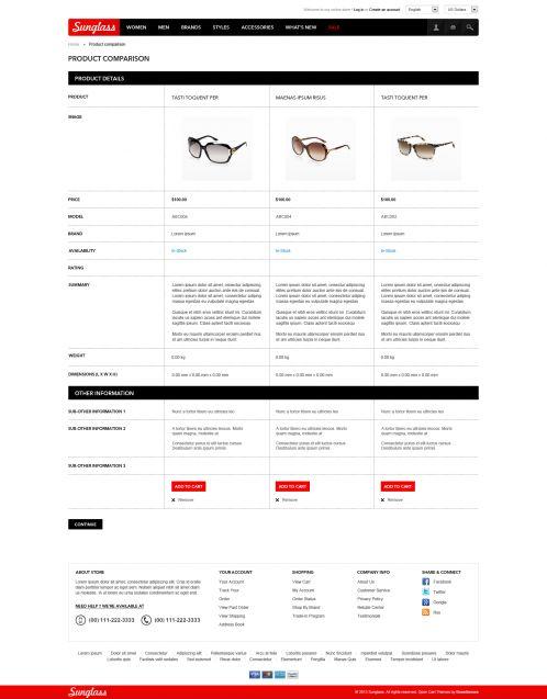 Boss Sunglasses OpenCart Theme - Compare