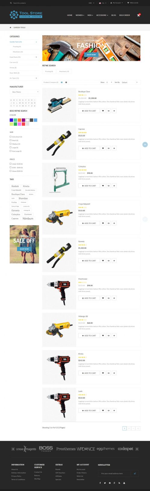 Bossthemes ToolStore - Category List