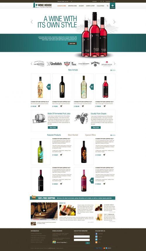 Wine House Responsive OpenCart Theme - Home Blue
